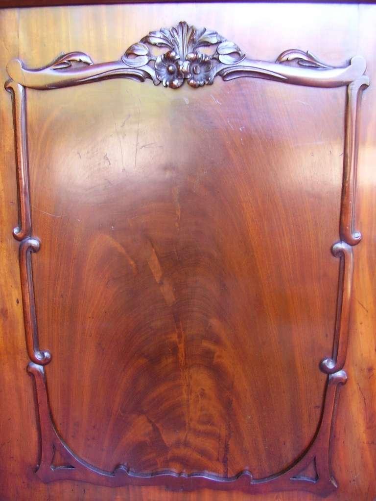 George III Georgian Mahogany Two Door Glass Cabinet Bookcase For Sale