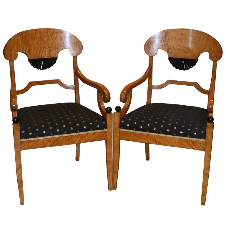 Fine Pair of Biedemier Style Satin Birchwood Armchairs For Sale