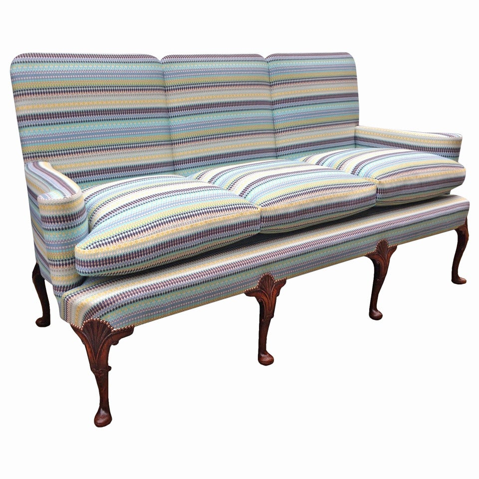 English Settee with Striped Upholstery in the Georgian Manner
