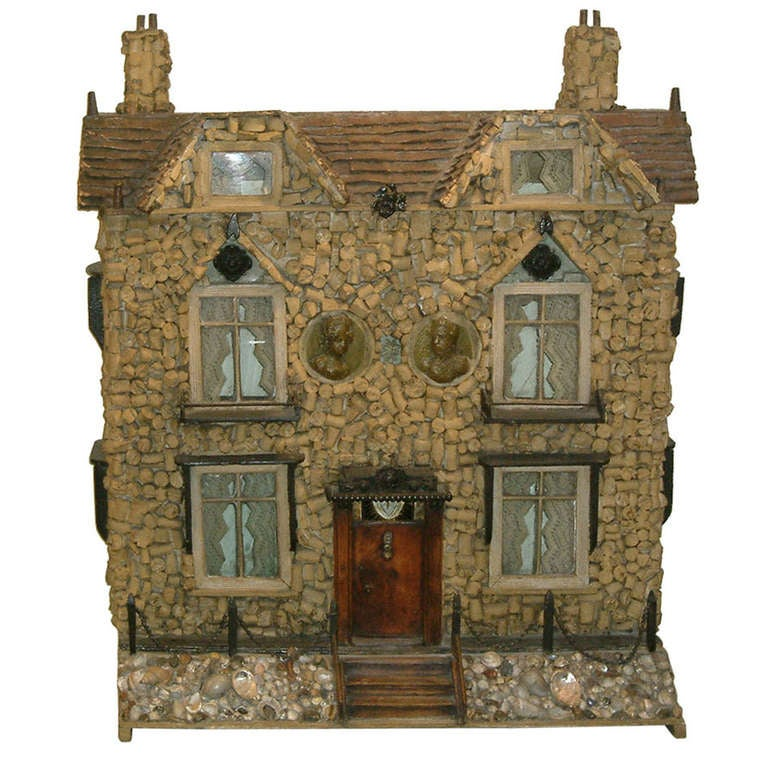 Early 19th Century English Model of a House with Cork and Shell For Sale