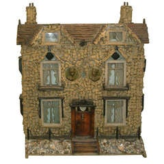 Early 19th Century English Model of a House with Cork and Shell