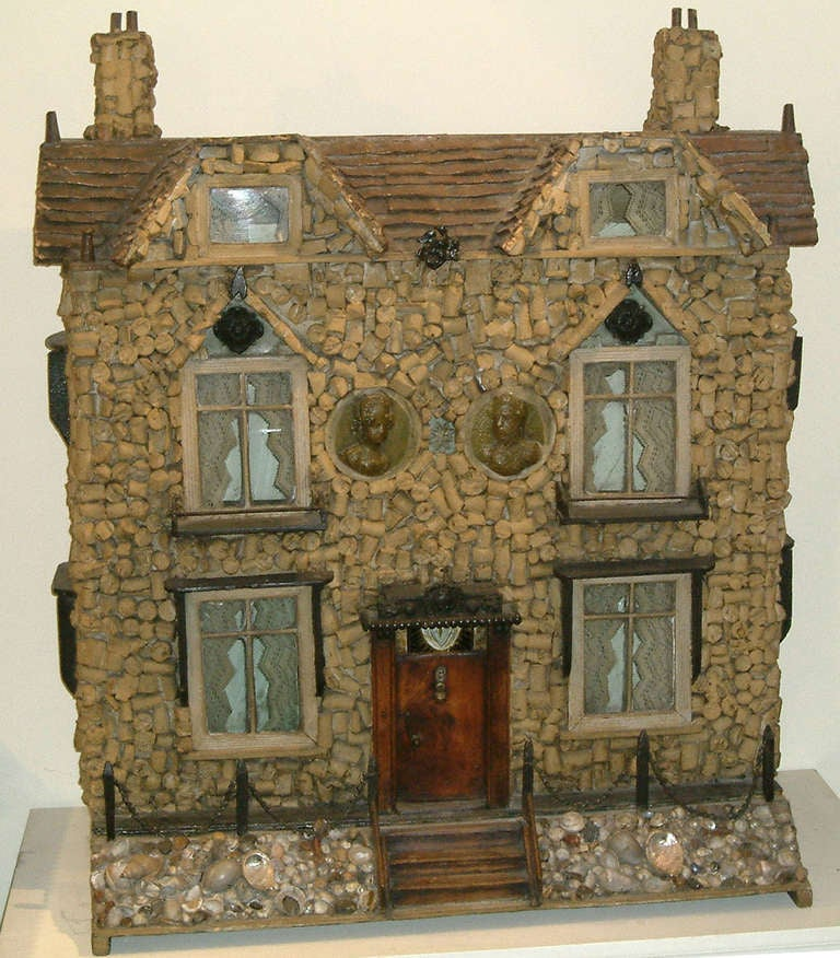 A most unusual model of a Detached House   The façade constructed of wine corks, with a grotto shell front garden.  circa 1830.
