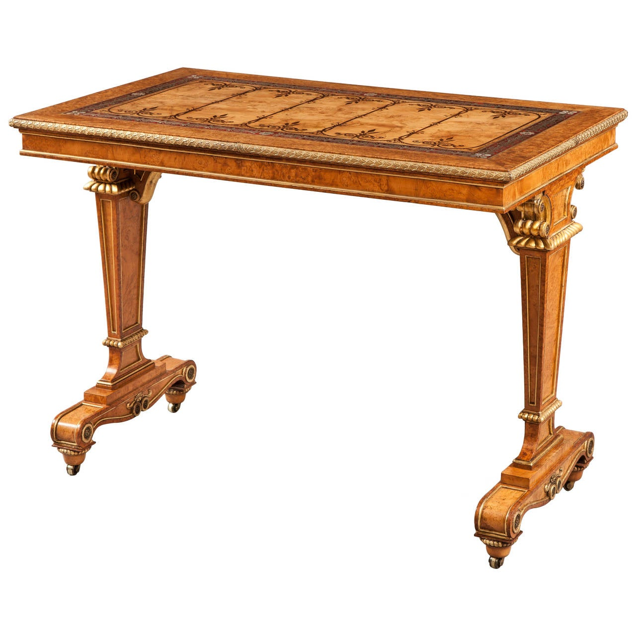Late Georgian Center Table with Inlay and Boulle Marquetry
