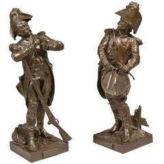 Pair of Military Bronzes by Etienne Henri Dumaige