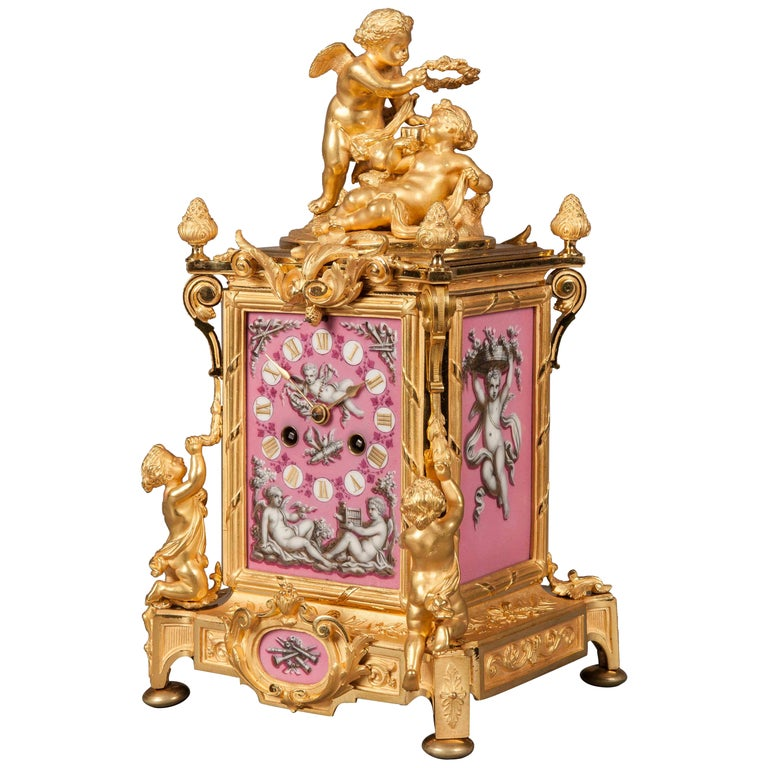 French 19th Century Gilt Bronze and Pink Porcelain Carriage Clock For Sale