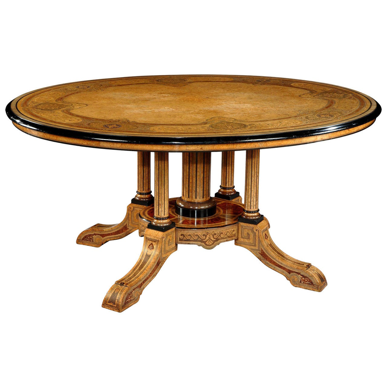 19th century marquetry centre table by jackson and graham for Table th center