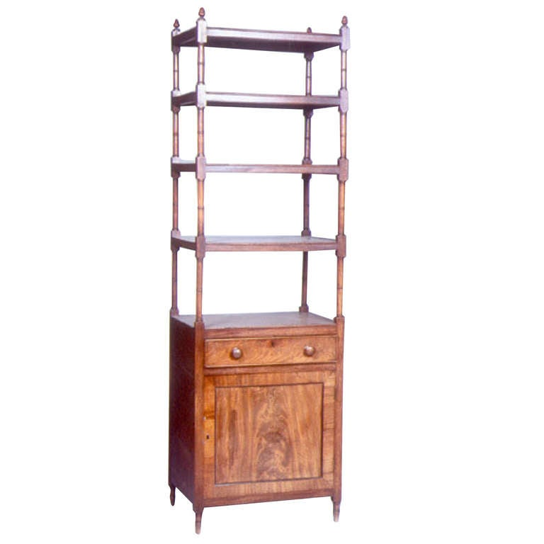 English Georgian Period Mahogany Whatnot or Cabinet with Shelves For Sale