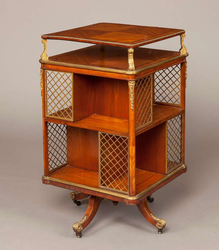 19th century french kingwood and ormolu revolving bookcase. Black Bedroom Furniture Sets. Home Design Ideas