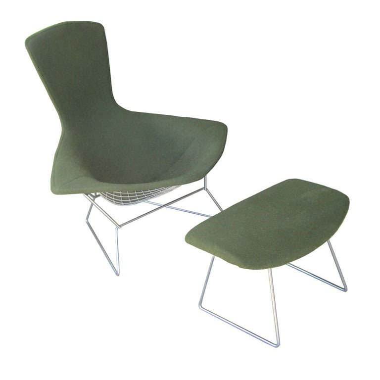 Harry Bertoia For Knoll Bird Lounge Chair With Ottoman At