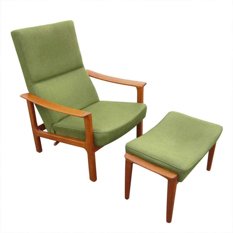 danish modern teak and tweed reclining lounge chair and ottoman at