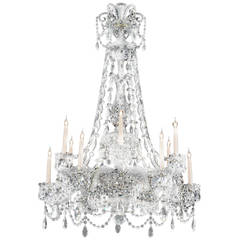 19th Century English Cut-Glass Chandelier Attributed to F. & C. Osler