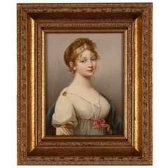 19th Century German 'KPM' Porcelain Plaque in Giltwood Frame