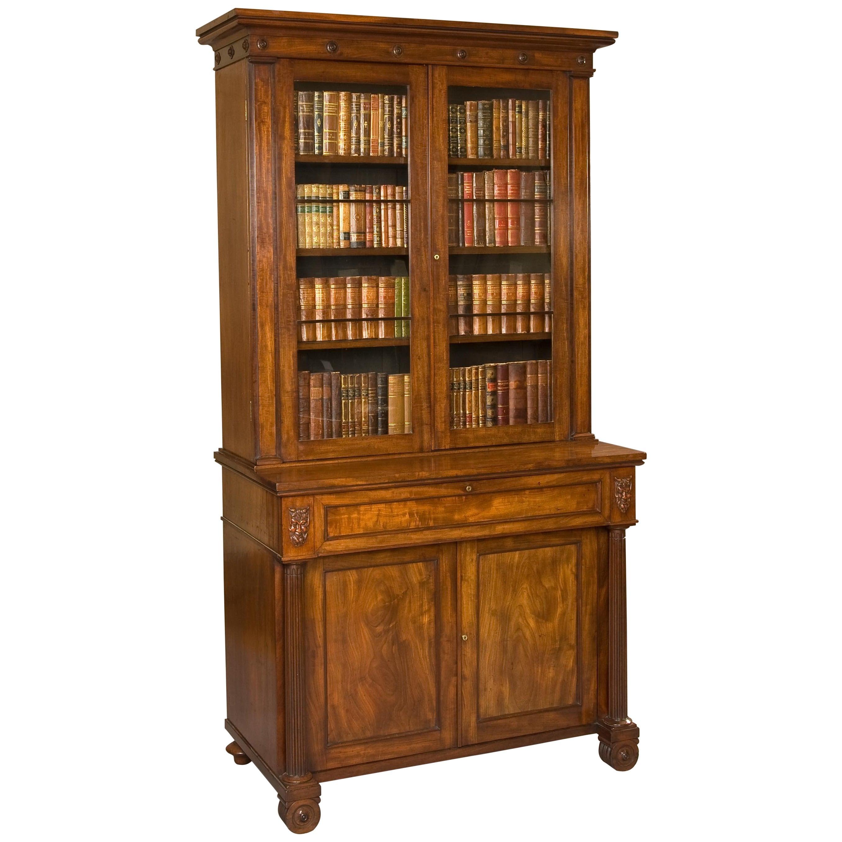19th Century English Mahogany Writing Bookcase with Cabinet