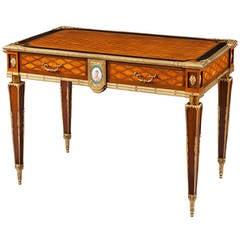 English 19th Century Trellis and Dot Inlaid Writing Table
