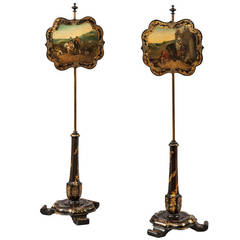 Pair of English Decorative Pole Screens with Scenes of Landscapes