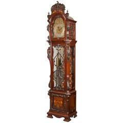 19th Century English Carved Mahogany Longcase Clock