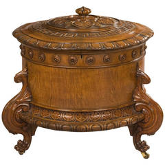 English 19th Century Carved Oak Wine Cooler in the Graeco-Roman Style