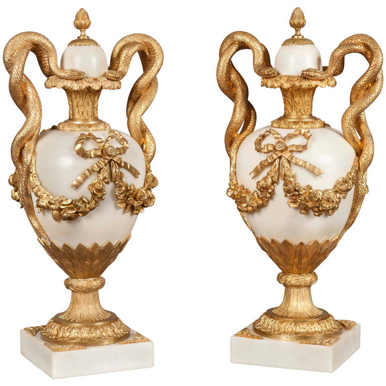 Pair of French White Marble and Gilt Bronze Mounted Urns, 19th Century