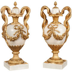 Pair of Gilt Bronze Mounted Urns in the Louis XVI Style