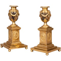 18th Century English Pair of Blue-John Stone and Ormolu Candle Stick Vases