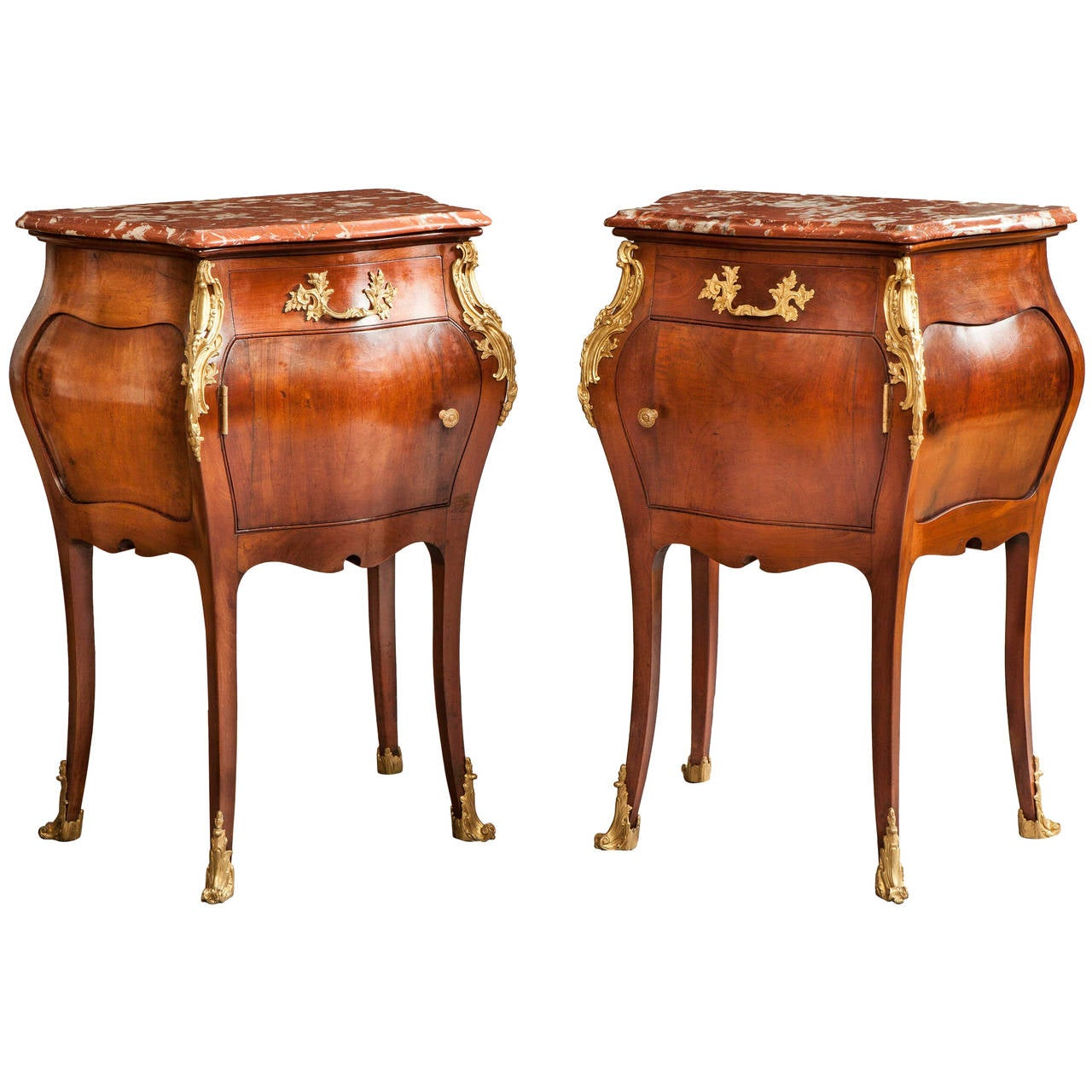 Pair of French Mahogany, Gilt and Marble Topped Side Cabinets, 19th Century