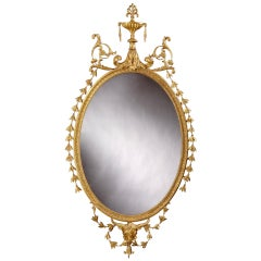 19th Century, English Giltwood Oval Mirror in the Neoclassical Style