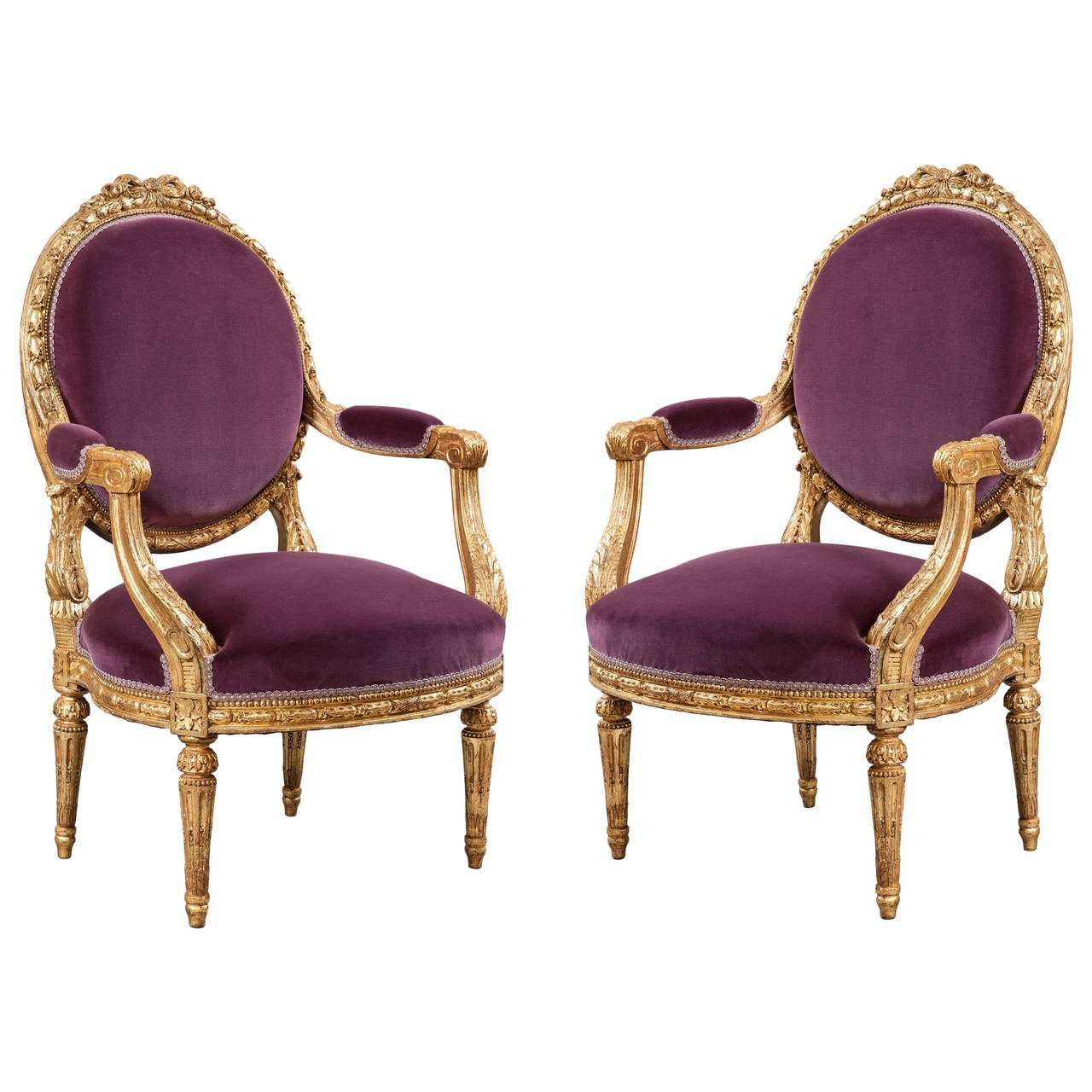 Pair of 19th Century French Giltwood and Purple Velvet Armchairs For Sale