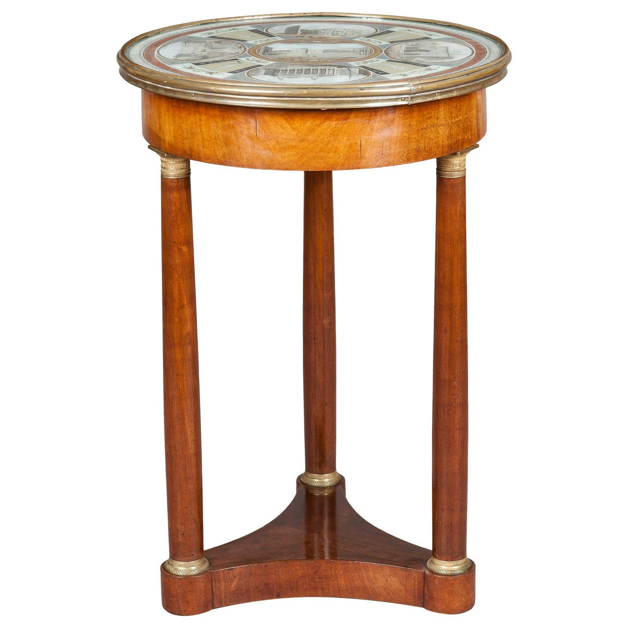 19th Century Italian Table of Mahogany and Painted Architectural Scenes of Rome  For Sale