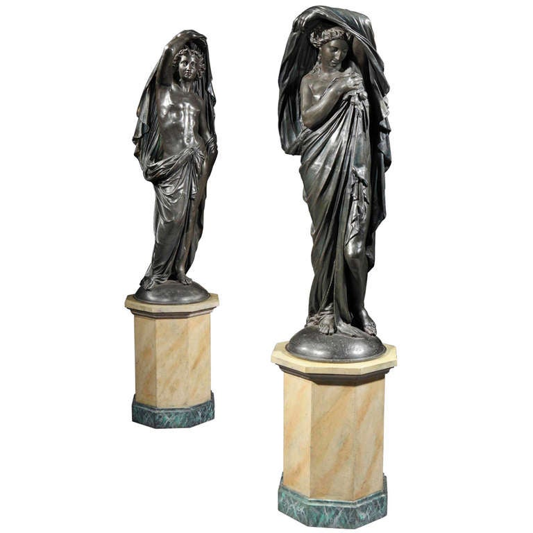 Old Garden Statue: Pair Of Antique Statues In The Classical Manner For Sale