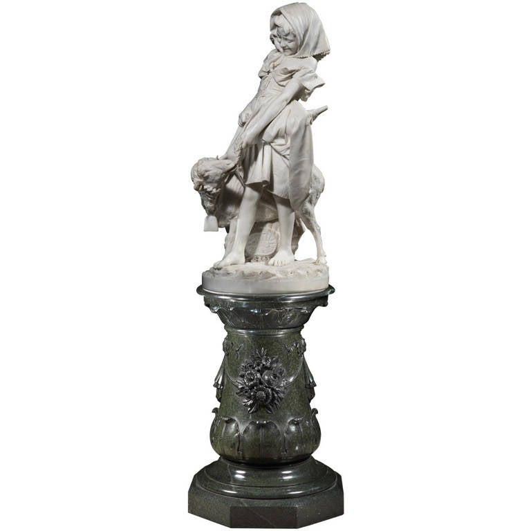 Carved Marble Statue of 'Mary and Her Little Lamb' by Professor Antonio Bortone For Sale