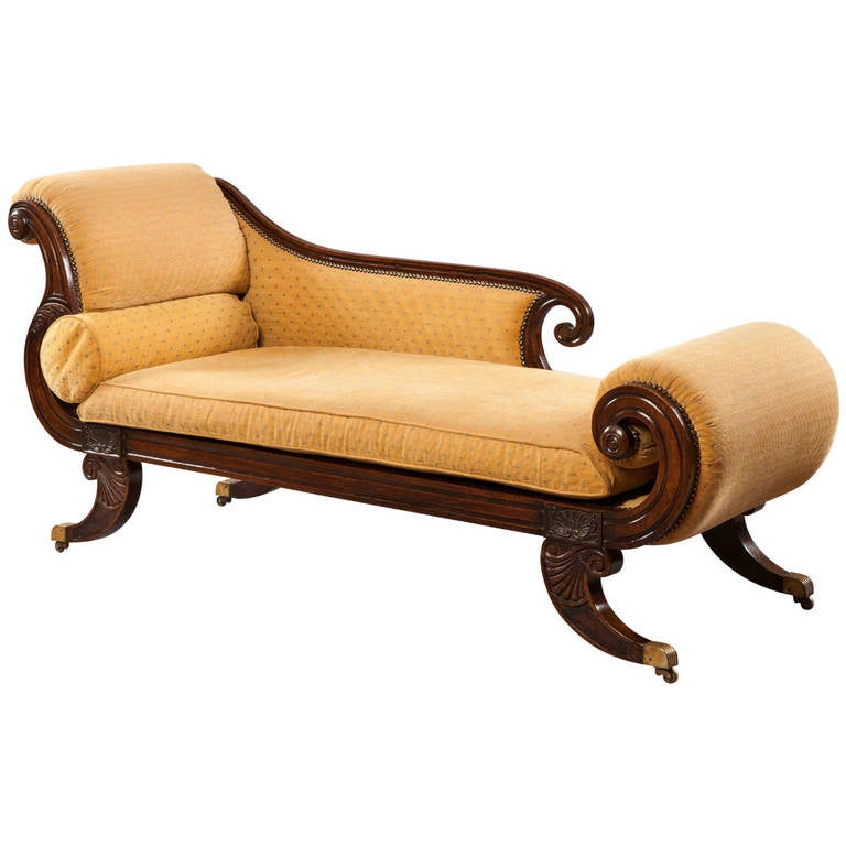 Regency period carved and yellow upholstered chaise longue for Chaise longue in english