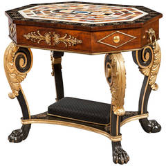Regency Period Ebony and Gilt Table with Italian Specimen Marble Top
