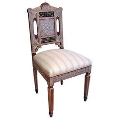19th Century Decorative Chair of Mother-of-Peal and Ivory Micromosaic