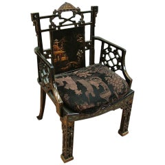 English Black Lacquer Pagoda Armchair in the Chinese Chippendale Style