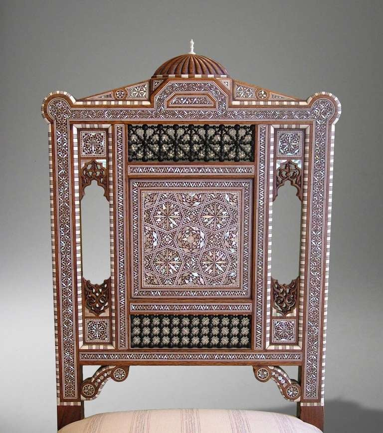 Modern 19th Century Decorative Chair of Mother-of-Peal and Ivory Micromosaic For Sale
