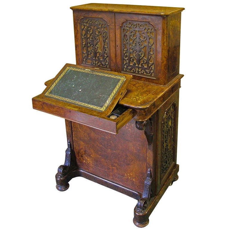 English Walnut and Marquetry Davenport Desk, 19th Century