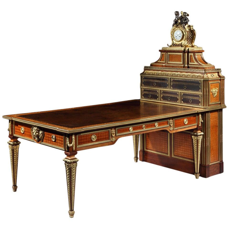 Antique French Parquetry and Bronze Cartonnier Writing Desk with Clock For  Sale - Antique French Parquetry And Bronze Cartonnier Writing Desk With