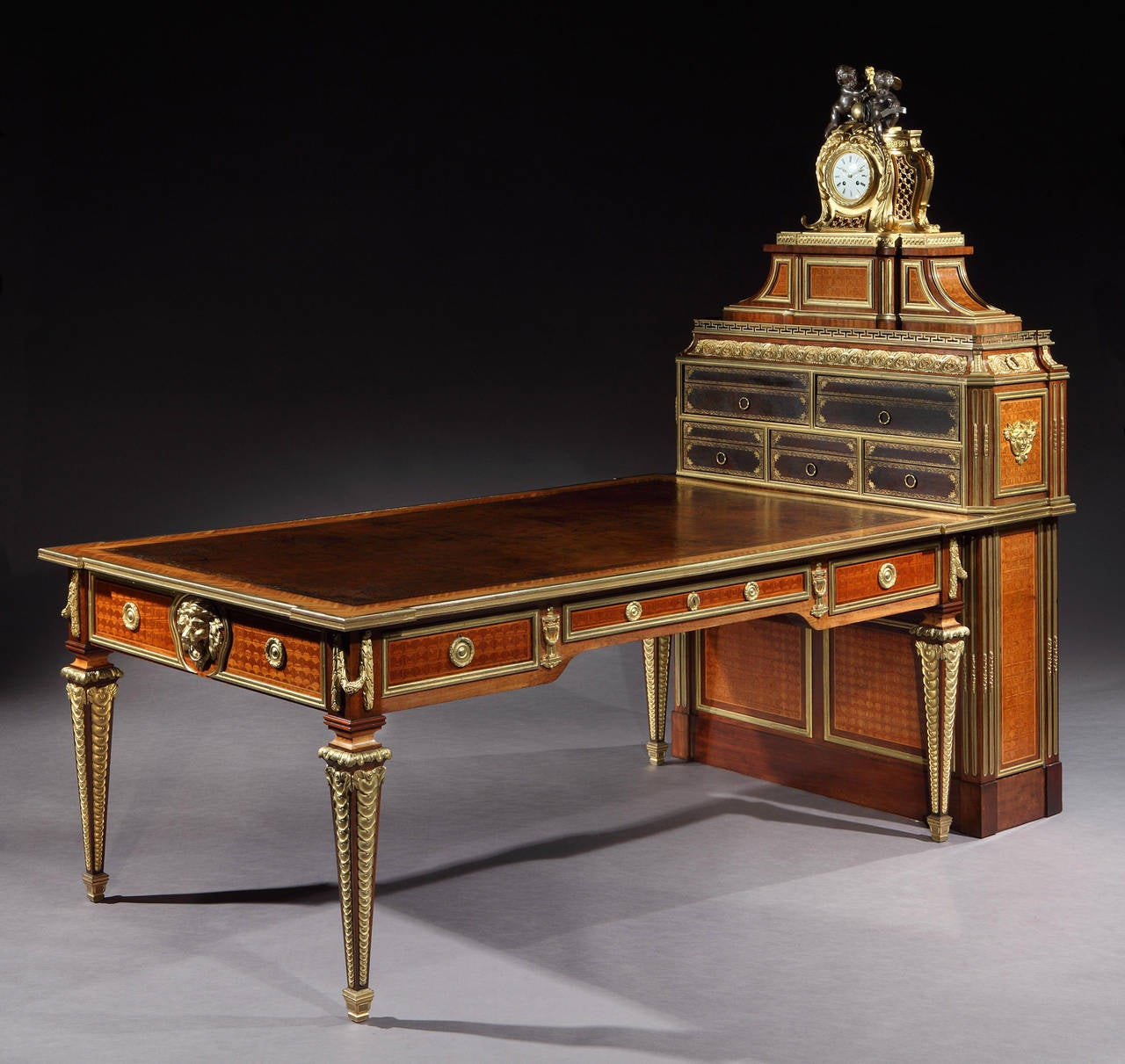 Cartonnier in the Louis XVI Manner after the Original by Simon Oeben  Constructed in kingwood and - Antique French Parquetry And Bronze Cartonnier Writing Desk With