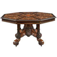Italian 19th Century Floral Marquetry Center Table