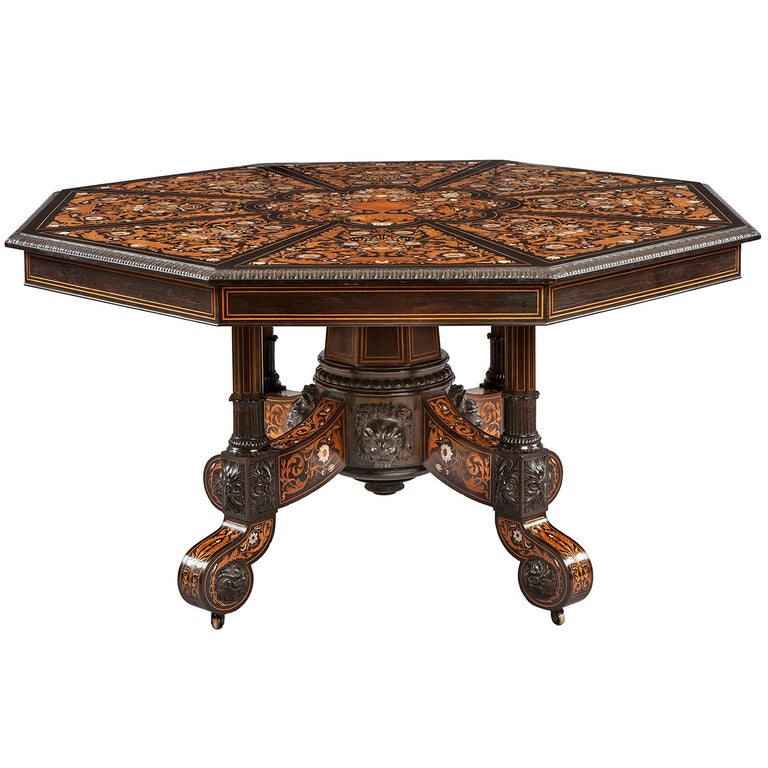 Italian 19th Century Floral Marquetry Center Table For Sale