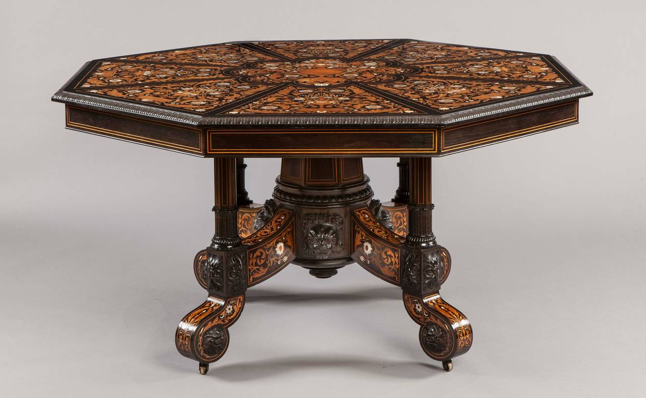 Revival Italian 19th Century Floral Marquetry Center Table For Sale