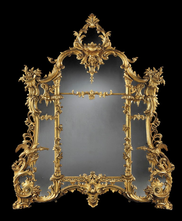 An Antique Giltwood Mirror of Substantial size in the Rococo Chippendale Manner 2
