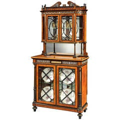 English 19th Century Amboyna and Ebony Inlaid Display Cabinet