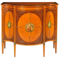 19th Century English Cabinet with Neoclassical Painted Scenes