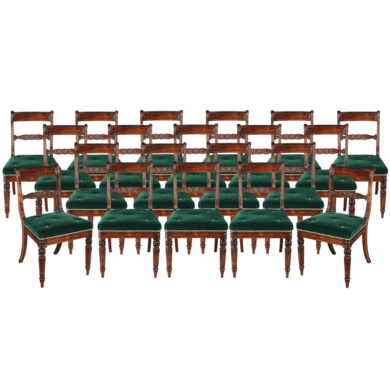 Set of 20 Regency Period Dining Chairs with Green Velvet Upholstery