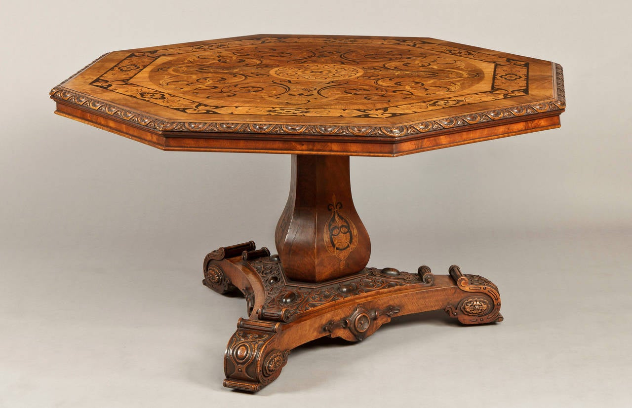 William IV Antique Walnut Marquetry Octagonal Centre Table For Sale