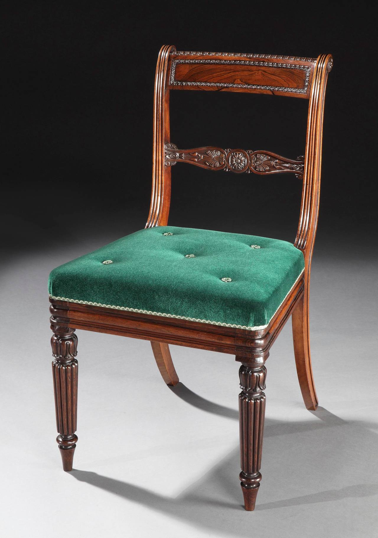 Set of 20 Regency Period Dining Chairs with Green Velvet