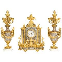 A Notable Antique Clock Garniture by Prosper Roussel of Paris