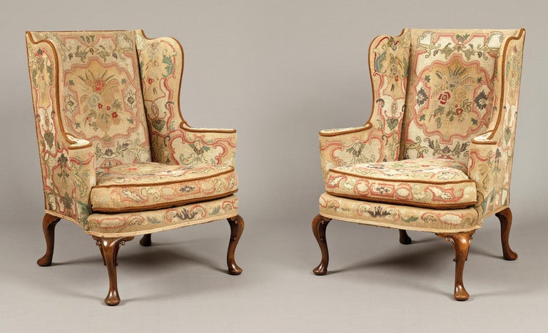 A Pair Of Antique Wing Backed Armchairs In The Mid Georgian Manner 2