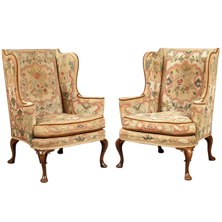 A Pair of Antique Wing Backed Armchairs In the mid ...
